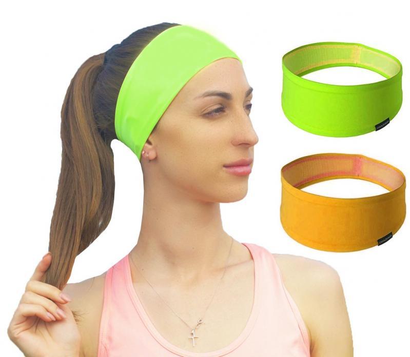 Набор спортивных повязок OSIAZHNYI 2 шт. Оранжевый/Зеленый - фото 2