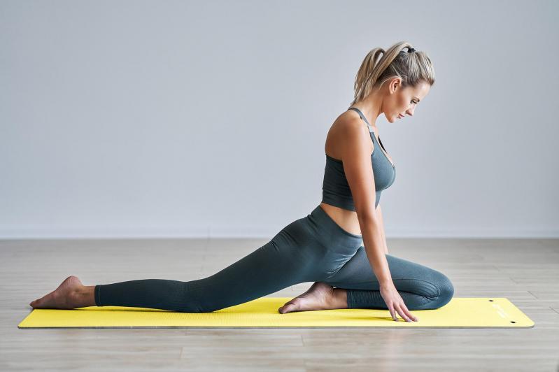 Килимок для фітнесу та йоги Hop-Sport HS-T006GM TPE 0,6 см Жовто-сірий - фото 8