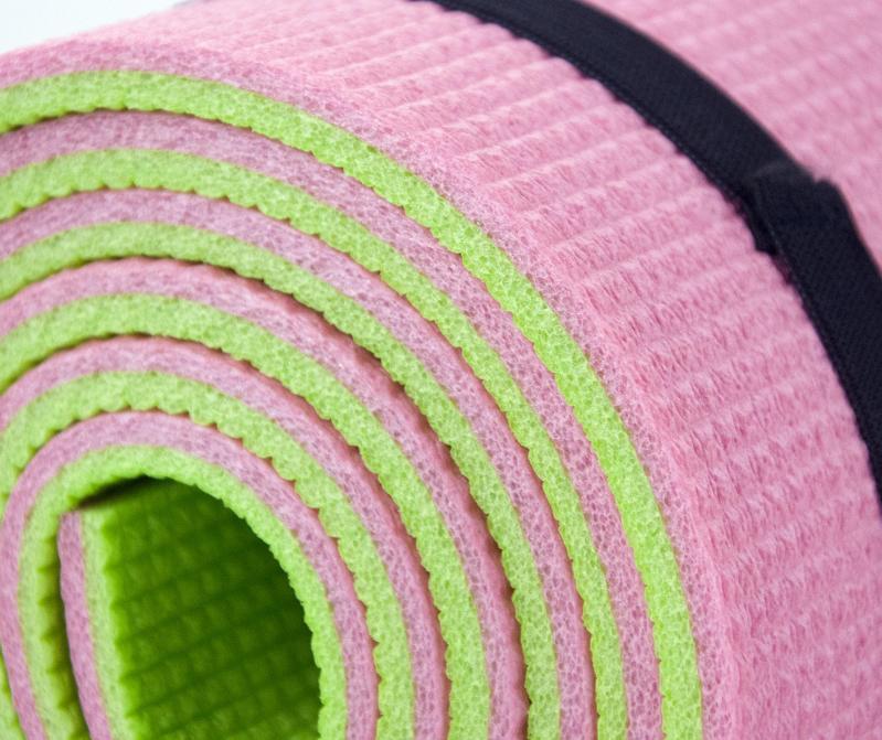Килимок для йоги та фітнесу OSPORT FI-0083 Спорт 8 мм Рожево-салатовий - фото 2