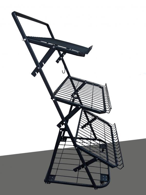 Овочевий стелаж на колесах H165/L80/D100 cm Тип-7 Графіт - фото 1