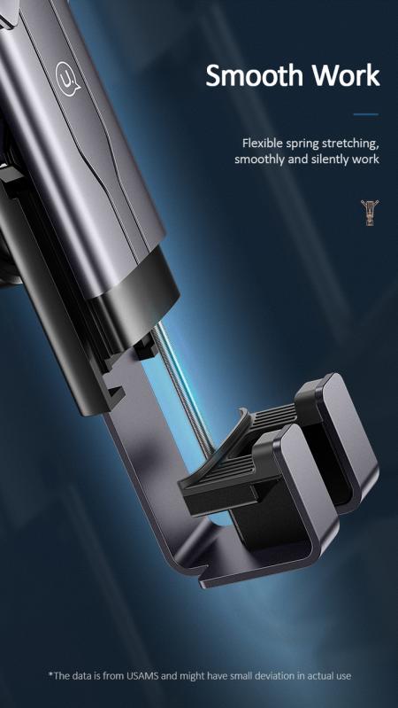 Автомобільний тримач 360 з затиском на дефлектор для телефона, смартфона в машину  USAMS US-ZJ060 Чорний - фото 7
