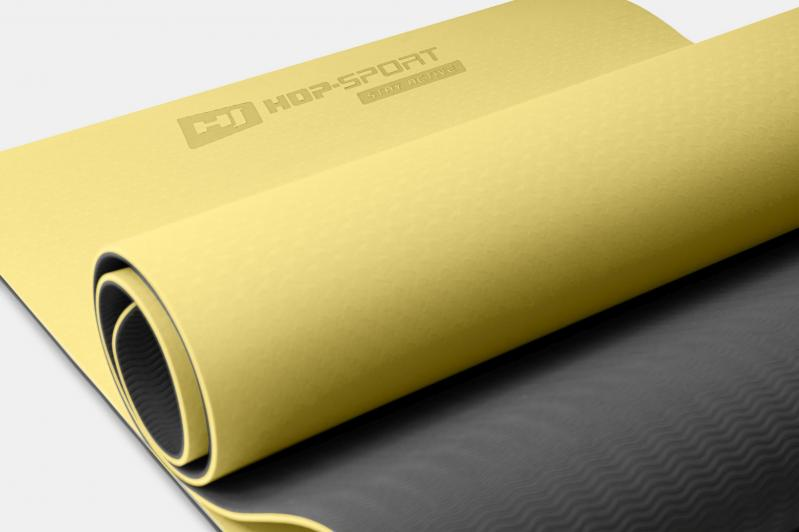 Килимок для фітнесу та йоги Hop-Sport HS-T006GM TPE 0,6 см Жовто-сірий - фото 4