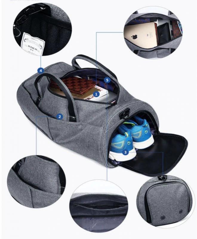 Спортивна сумка TuGuan 1698 з відділом для взуття Сірий - фото 3
