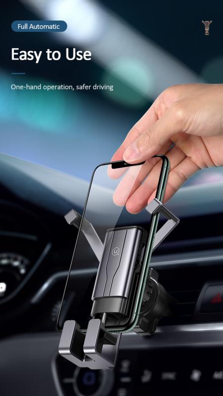 Автомобільний тримач 360 з затиском на дефлектор для телефона, смартфона в машину  USAMS US-ZJ060 Чорний - фото 8