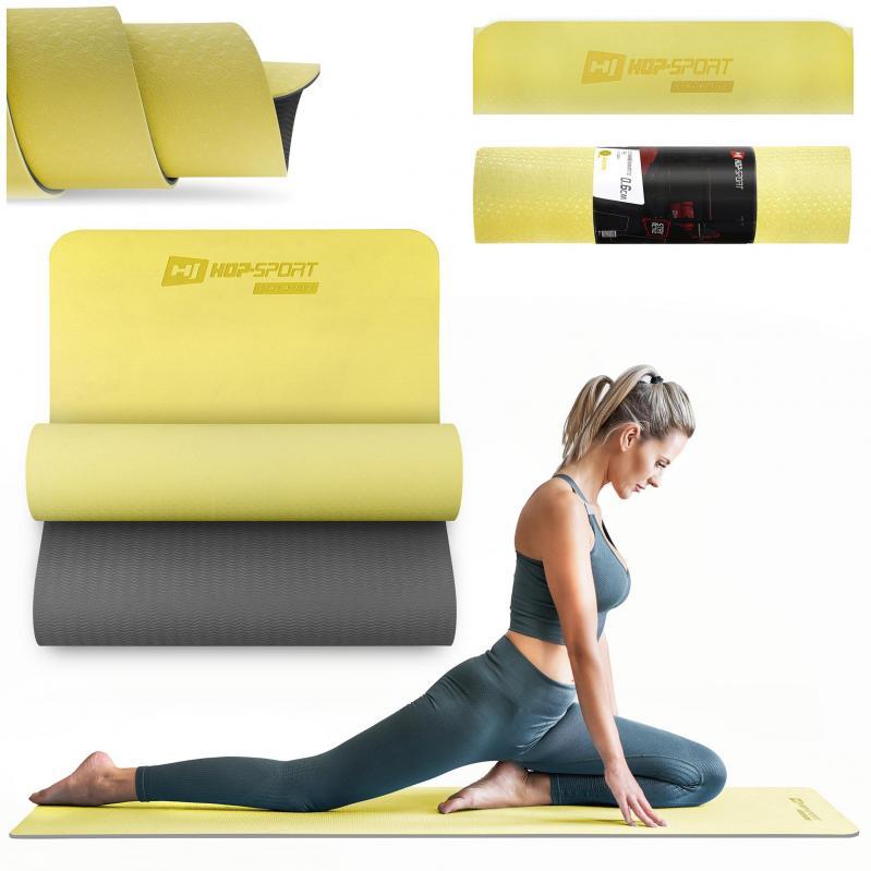 Килимок для фітнесу та йоги Hop-Sport HS-T006GM TPE 0,6 см Жовто-сірий - фото 2