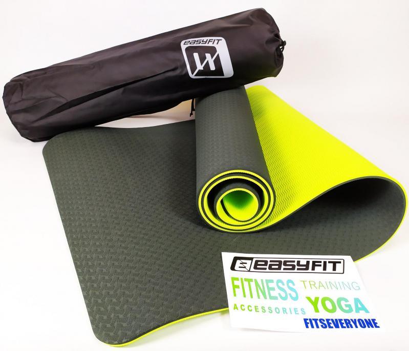 Килимок для йоги EasyFit ECO-Friendly TPE+TC 8 мм Чорний/Зелений (EF-TPE8BkGr) - фото 1