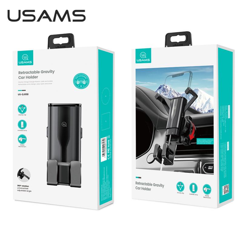 Автомобільний тримач 360 з затиском на дефлектор для телефона, смартфона в машину  USAMS US-ZJ060 Чорний - фото 9