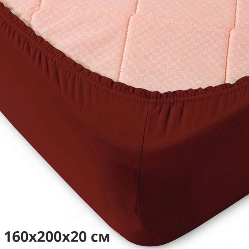 Простынь трикотажная на резинке GM Textile 160х200х20 см Коричневый - фото 2