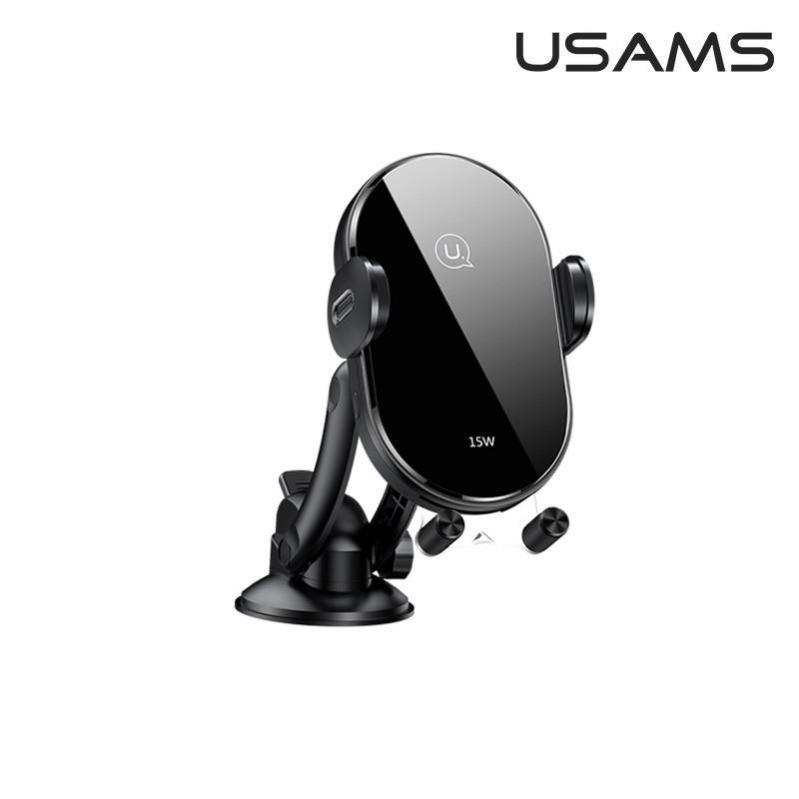 Автомобільний тримач з бездротовою зарядкою QI на панель USAMS US-CD131 Чорний - фото 2