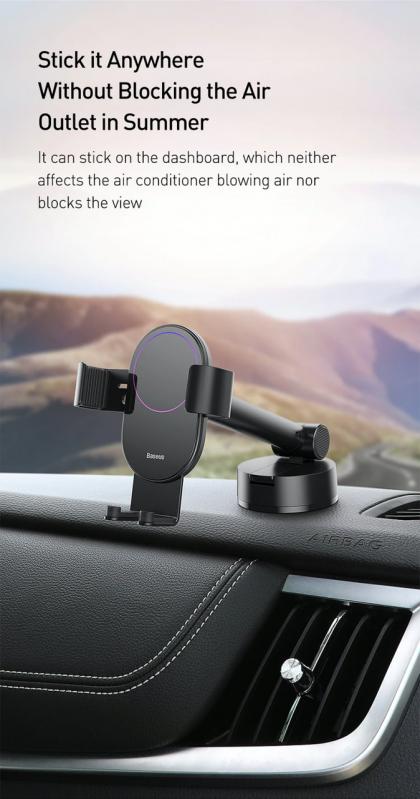 Тримач для телефону Baseus Simplism gravity car mount в машину Black - фото 9