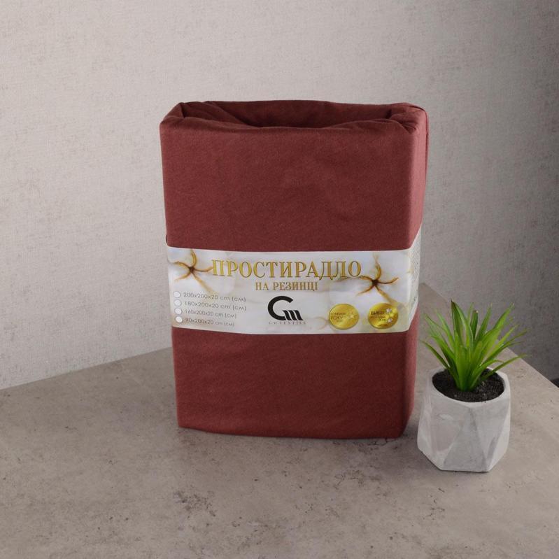 Простынь трикотажная на резинке GM Textile 160х200х20 см Коричневый - фото 1