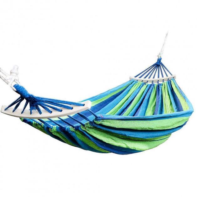 Гамак подвесной с каркасом и зонтом 240 х 100 Синий с зелёным - фото 9