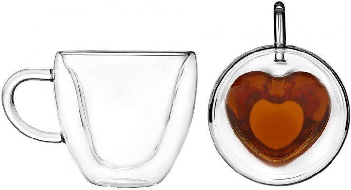 Набор чашек Ardesto Сердце 2 шт 300 мл с ручками и двойными стенками (AR2630GHL) - фото 1