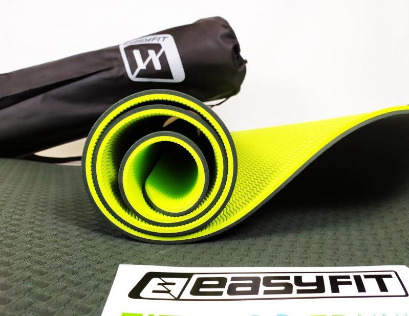 Килимок для йоги EasyFit ECO-Friendly TPE+TC 8 мм Чорний/Зелений (EF-TPE8BkGr) - фото 3