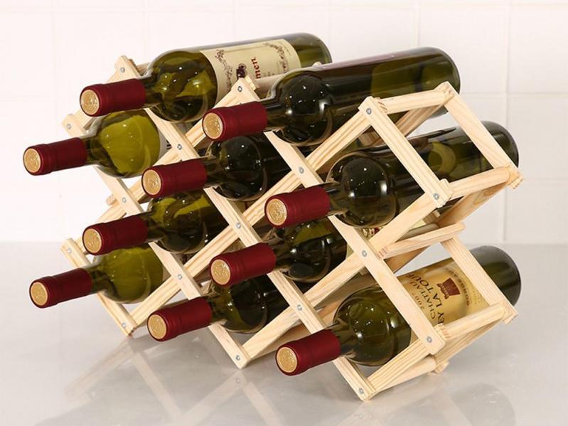 Винний стелаж для пляшок вина з натурального дерева складаний (1009-139-02) - фото 2